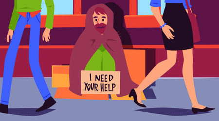 People pass by homeless man sitting at sidewalk with sign cartoon style, vector illustration on cityscape background. Poor male beggar asking help at street but pedestrians walking past him