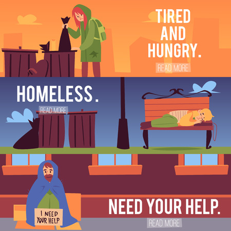 Web banners set with homeless people and text cartoon style, vector illustration on cityscape background. Woman rummaging in trash can and men sleeping at street bench and sitting at sidewalk