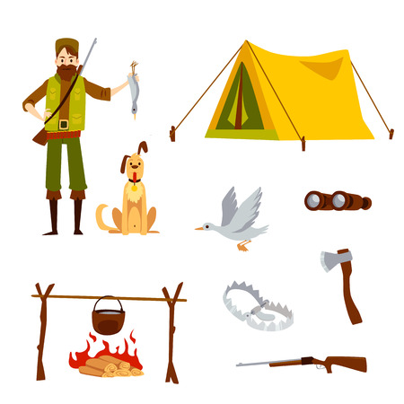 Set with male hunter and equipment in cartoon style, vector illustration isolated on white background. Man holding duck trophy and dog, rifle and tent and binoculars and ax and trap and bonfire