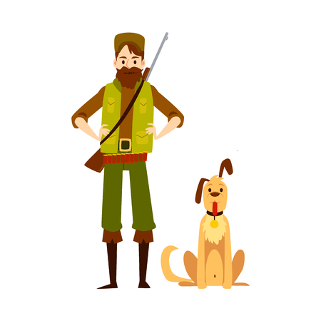 Male hunter standing with arms akimbo and sitting dog cartoon style, vector illustration isolated on white background. Full-length equipped man with shotgun and hunting pet Illustration