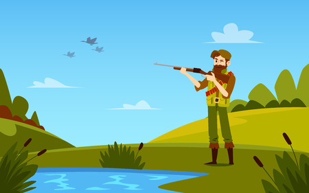 Man stands holding shotgun to duck hunting outdoors cartoon style, vector illustration isolated on landscape background. Full-length equipped hunter squinting one eye to take aim on bird