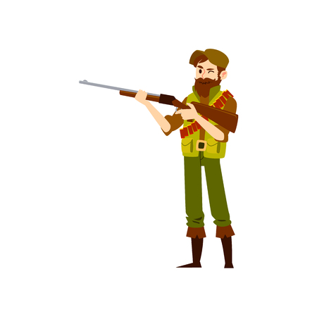 Man wearing in hat and vest and boots stands holding shotgun cartoon style, vector illustration isolated on white background. Full-length equipped hunter squinting one eye to take aim