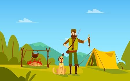 Cazador macho con perro se encuentra cerca de la fogata y la tienda con estilo de dibujos animados de aves, ilustración vectorial aislado sobre fondo de paisaje natural. Hombre con trofeo de pato de pie al aire libre