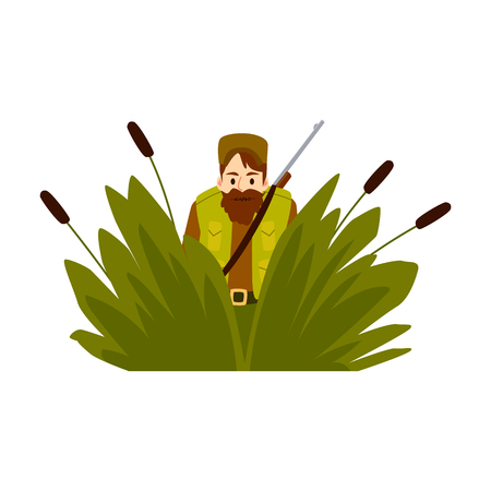 Hunter man sits in an ambush with hunting rifle vector flat design illustration isolated on white background. Hipster man aiming with a gun in camouflage cartoon character. Illustration