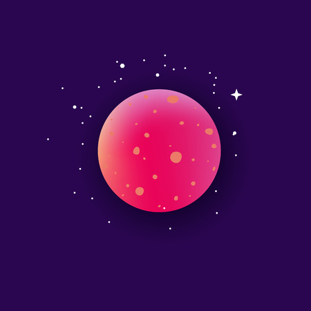Planet the element of space and galaxy icon flat cartoon vector illustration on night blue background. Stars and universe science or fantasy design element. Illustration