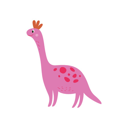 Pink smiling dinosaur, large cartoon dino with long neck smiling, extinct animal in hand drawn comic style, funny friendly character for kids isolated on white background, vector illustration Çizim
