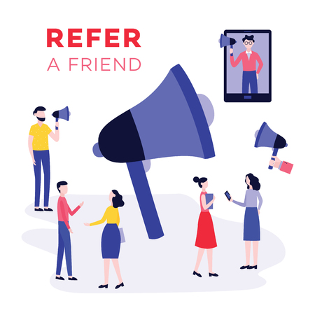 Refer a friend program, cartoon character sharing a link via technology and megaphone with team of young people, business marketing banner. Vector illustration on white background.
