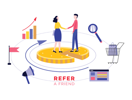 Refer a friend marketing banner, customer referral program cartoon style poster with woman sharing a code with man, flat vector illustration isolated on white background  イラスト・ベクター素材