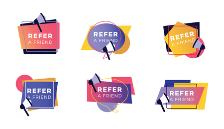 Refer a friend colorful sticker set, collection of icons and signs for customer referral program for marketing and advertising, modern geometric shapes with megaphone, isolated vector illustration.