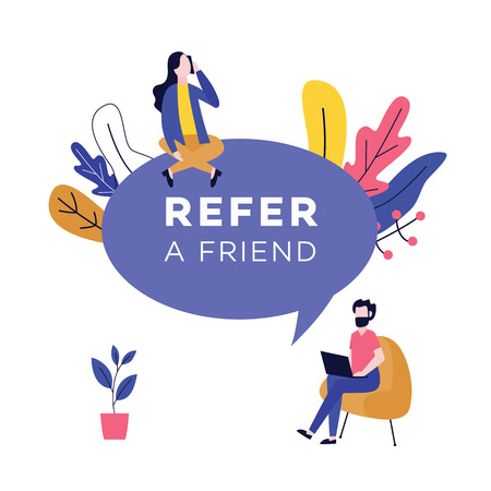Refer a friend design with huge speech bubble and people flat cartoon style, vector illustration isolated on white background. Referral program badge with sitting business man and woman with devices