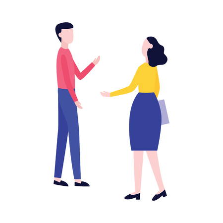 Male and female stand and talk gesticulating flat cartoon style, vector illustration isolated on white background. Woman greet passing man or refer a friend, marketing communication concept