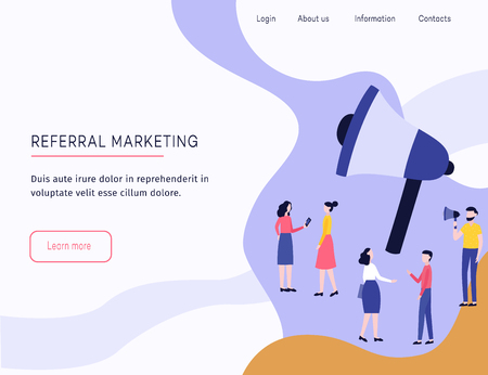 Referral marketing web template with megaphone and people flat cartoon vector, vector illustration on white background. Banner or landing page design with huge loudspeaker, tell a friend