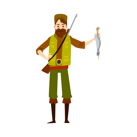 Proud hunter with dead duck, isolated hunting man in confident pose showing his kill - shot bird upside down. Flat cartoon character - isolated vector illustration on white background.