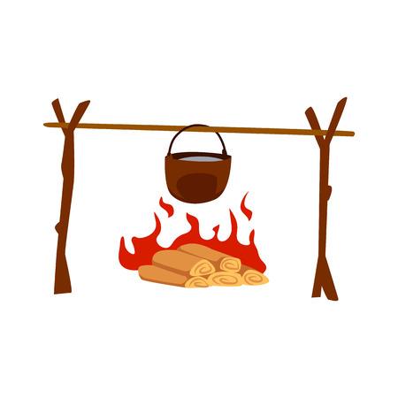 Cibo caldo che cucina sul fuoco, bollitore marrone sul fuoco con legno, picnic all'aperto con cena al falò o simbolo del cuoco escursionistico. Illustrazione vettoriale disegnato a mano isolato su priorità bassa bianca. Vettoriali