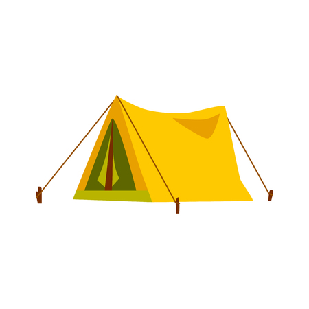 Yellow travel tent for summer camp adventure. Cartoon style outdoor equipment for sport and tourist activities, secure shelter vector illustration isolated on white background.