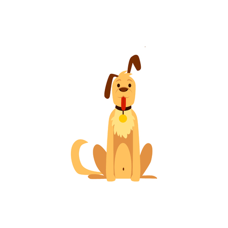 Cute hunter dog, pet and friend. Symbol and concept of hunting and protection, dog and pet in flat style, isolated vector on white background.