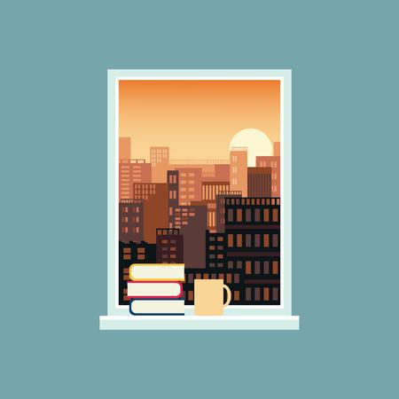 Landschaftsansicht von Skyline-Gebäuden der Stadt aus dem offenen Fenster mit Büchern, die auf der Fensterbank gestapelt sind, und einer Cup-Vektor-Illustration-Banner-Vorlage. Ruhe- und Entspannungskonzept. Vektorgrafik