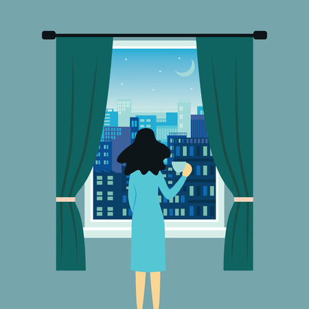 Woman or girl standing and holding a cup near open window with landscape view of city skyline buildings vector illustration banner template. Rest and relaxation concept.