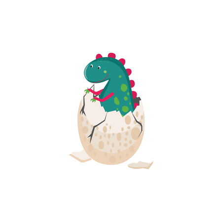 A cute dinosaur hatching from an egg vector illustration isolated on white background. Birth of little prehistoric reptile item for birthday and children themes design.