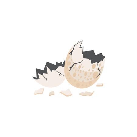 Cáscara de huevo de dinosaurio roto en la ilustración de vector de estilo plano aislado sobre fondo blanco. Símbolo prehistórico del nacimiento para el diseño sobre el tema de monstruos y reptiles.