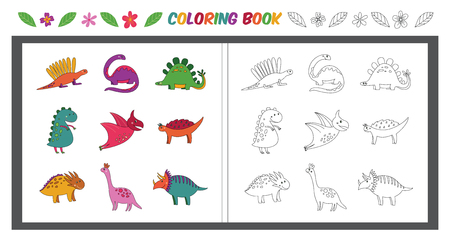 Happy cartoon dinosaurs coloring book. Collection of cute prehistoric animal reptiles in color and black and white for children activity, isolated vector illustration set on white background