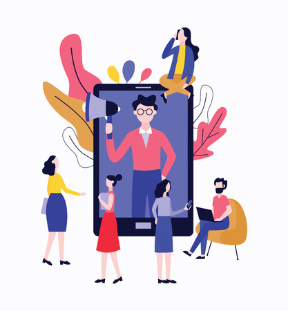 Refer a friend - customer referral business concept. Cartoon characters with giant tablet and technology, man recommending a service to his friends, vector illustration on white background  イラスト・ベクター素材