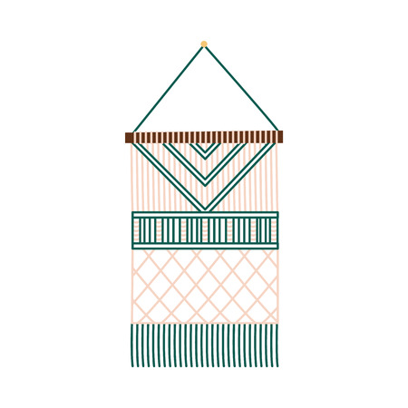 Macrame handmade decoration - art and craft hand knitted design with knots and fringe, beige and green thread pattern, isolated flat vector illustration on white background