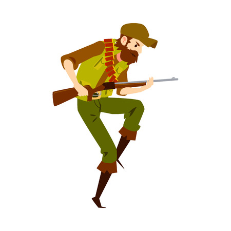 Caucasian man ready to shoot with hunting rifle vector flat design illustration isolated on white background. Hipster man aiming with a gun in camouflage cartoon character.