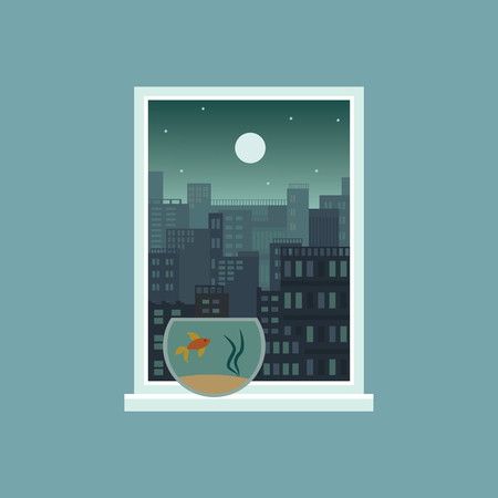 Green ominous city at night with full moon, window view of modern urban architecture with fish tank on windowsill, dark sky with stars in rectangle frame, flat cartoon vector illustration Illustration