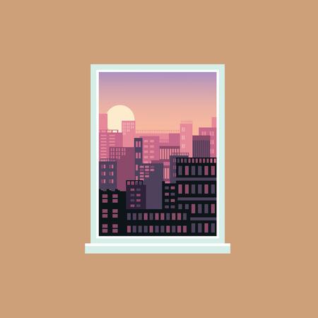 Vue de la fenêtre du coucher de soleil sur la ville moderne, l'architecture urbaine et les extérieurs de la maison vus de l'intérieur d'une pièce, dégradé rose et orange frais et soleil couchant sur le ciel, illustration vectorielle
