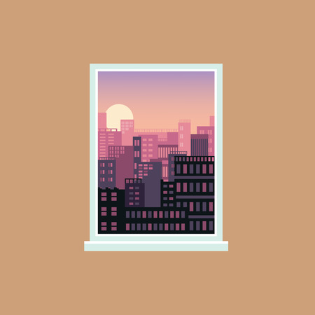 Window view of sunset over modern city, urban architecture and house exteriors seen from inside a room, cool pink and orange gradient and setting sun on the sky, vector illustration