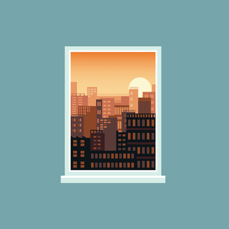 Gold sunset window view to city landscape, urban architecture background in modern flat cartoon design, cityscape with many buildings seen from inside a house, vector illustration