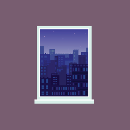 Window view to night city under starry sky, modern architecture buildings on background seen from inside a room, flat cartoon style design os open cityscape. Vector illustration