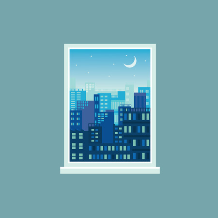 Modern city view at night seen from window. Cityscape with moon and stars with many layers of cartoon buildings in white rectangle frame with no glass, vector illustration. Ilustração