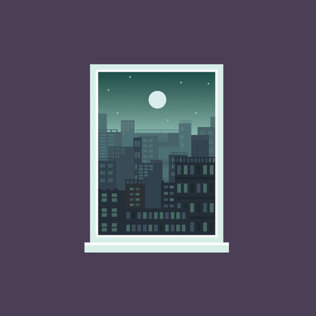 Night city from window view, green tinted architecture background in rectangle frame, cartoon landscape with many buildings under full moon and stars, vector illustration