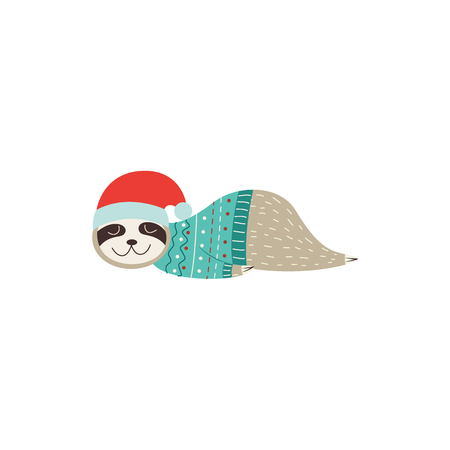 Sleeping Christmas sloth in Santa hat, cute baby animal lying on floor and taking a nap with eyes closed and festive sweater, isolated cartoon vector illustration on white background