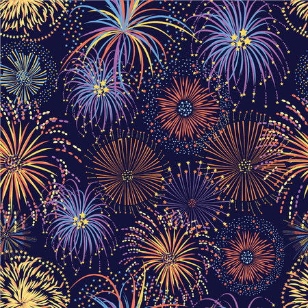 Fireworks seamless pattern with bright stars and colorful explosions, party celebration background on night sky, colorful hand drawn cartoon style vector illustration for festival or holiday event Illustration