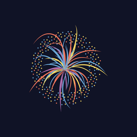 Cartoon firework celebration explosion on black sky, bright colorful light burst in simple hand drawn style, rainbow colors for party or festival decoration, vector illustration Foto de archivo - 128169894