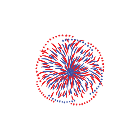 Celebration firework with stars flying apart from center abstract flat style, vector illustration isolated on white background. Red and blue festive firecracker or banger