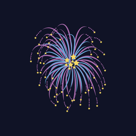 Celebration firework with stars flying apart from center abstract flat style, vector illustration isolated on black background. Bright festive firecracker or banger on dark night sky
