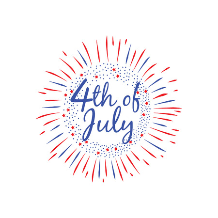 USA Independence Day 4 th July celebration banner flat vector illustration isolated on white background. Greeting card and poster for patriotic national American holiday.