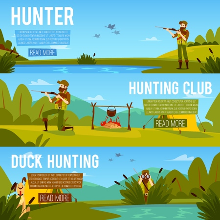 Set of banners on the theme of duck hunting and a hunting club with a hunter character flat vector illustration. Landscape with lake or marshland with hunter templates.
