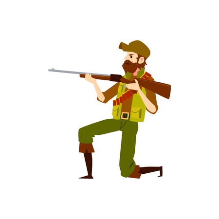 Uomo del cacciatore con la pistola del fucile che mira a sparare. Personaggio dei cartoni animati maschio in abiti da caccia e barba pronto a cacciare con il fucile da caccia in natura, illustrazione vettoriale isolato su sfondo bianco.