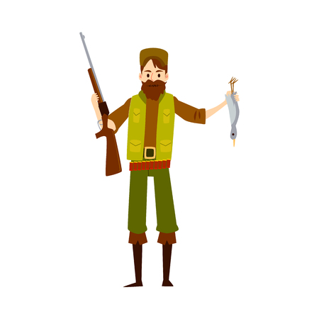 Hunter man with rifle gun and dead duck, happy cartoon character huntsman holding his shotgun weapon and bird, proud of bounty kill, isolated vector illustration on white background. Stock Illustratie