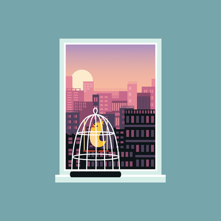 Landscape view of city skyline buildings from the open window with a bird in a cage on the windowsill flat vector illustration banner template. Rest and relaxation concept. Illustration