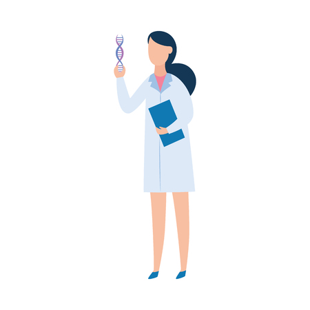 Biology research scientist holding DNA spiral, biotechnology science researcher or woman doctor in lab coat analyzing data, flat cartoon character isolated on white background - vector illustration. Illustration