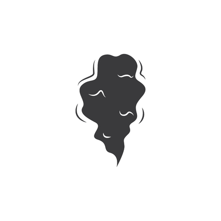 Black smoke cloud - cartoon comic style hand drawn symbol for fire fog or vapor trail, simple smog texture effect. Isolated flat vector illustration on white background.