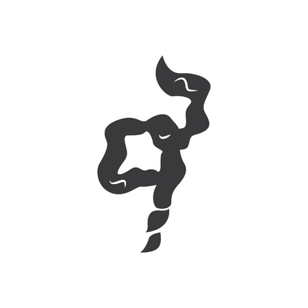 Black cigarette smoke cloud vector illustration isolated on white background. Spiral curve silhouette for cartoon style comic fog or smell shape trail, simple icon concept.