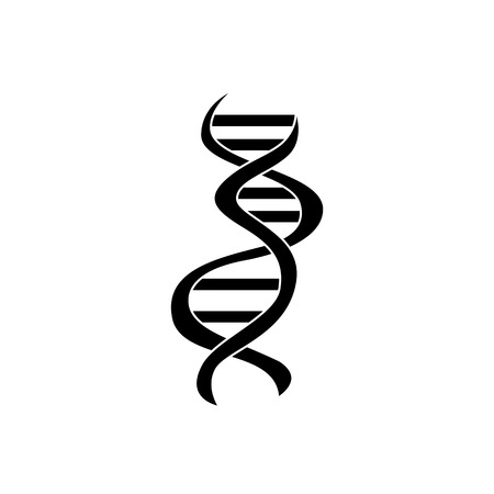 Flat silhouette of curve DNA icon on isolated white background. Symbol of science, biology, medicine and genetics, vector illustration. Ilustração