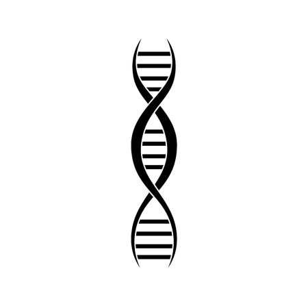 DNA genetic molecule strand symbol graphic vector illustration isolated on white background. Chromosome spiral structure for medical and healthcare design.